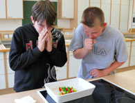 Zwei Schüler bereiten einen Salat zu. Dabei husten sie über die Salatschale.