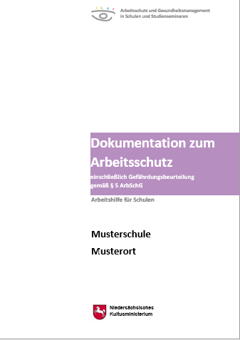 Titelbilder der Broschüre Dokumentation zum Arbeitsschutz - einschließlich Gefährdungsbeurteilung gemäß § 5 ArbSchG - Arbeitshilfe für Schulen