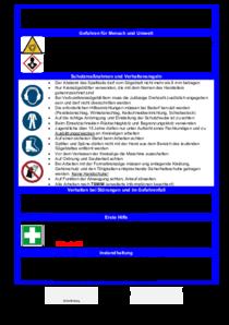 Das Bild zeigt eine Betriebsanweisung für Formatkreissägen