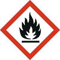 """Das Bild zeigt ein Gefahrstoffsymbol nach GHS mit dem Symbol """"leicht entzündlicher Stoff"""""""