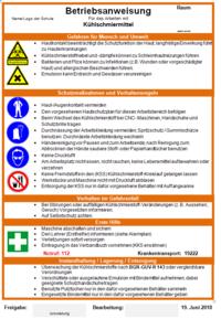 Betriebsanweisung für Gefahrstoffe - Kühlschmiermittel