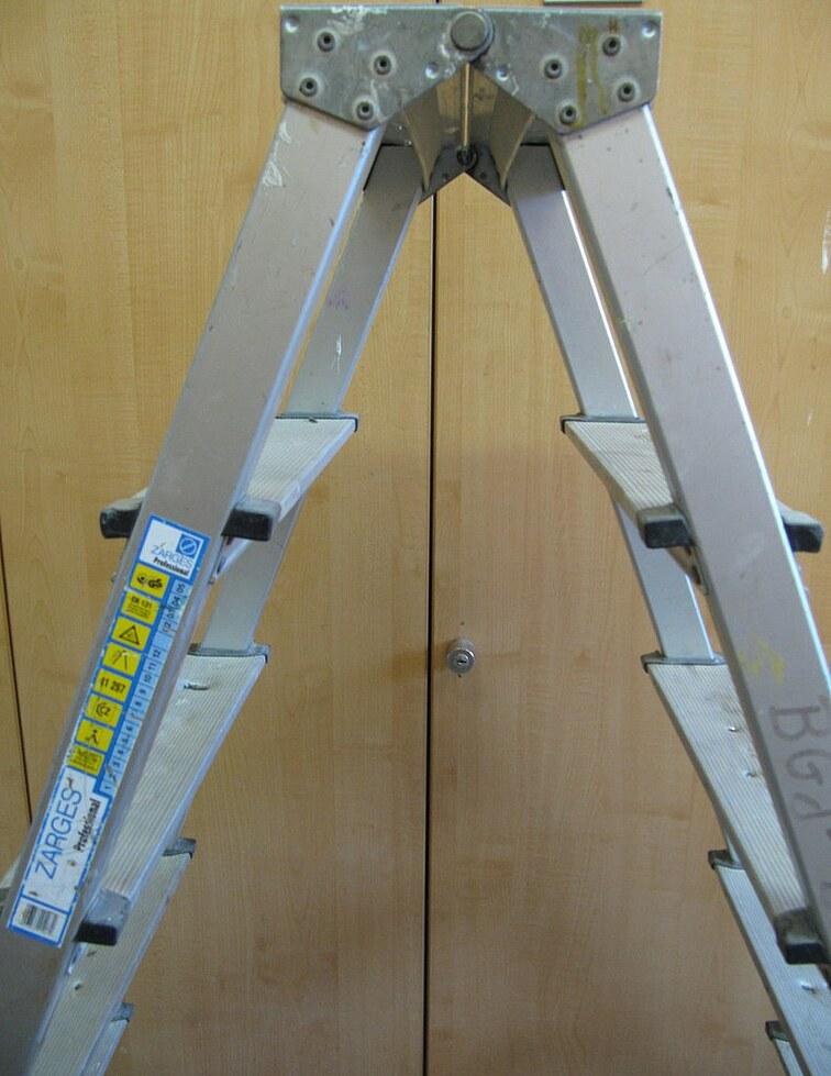 Die Abbildung zeigt den Teil einer Steheleiter mit den Piktogrammen.