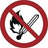 """Hier ist ein Verbotszeichen mit dem Symbol """"kein Feuer anzünden"""" abgebildet"""