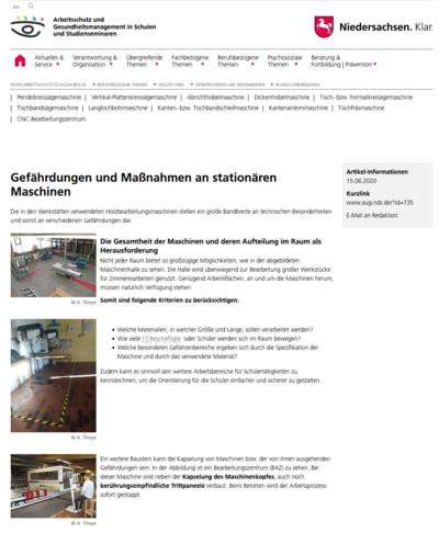 Hier ist die Darstellung unserer Seite Gefährdungen und Maßnahmen an stationären Maschinen zu sehen