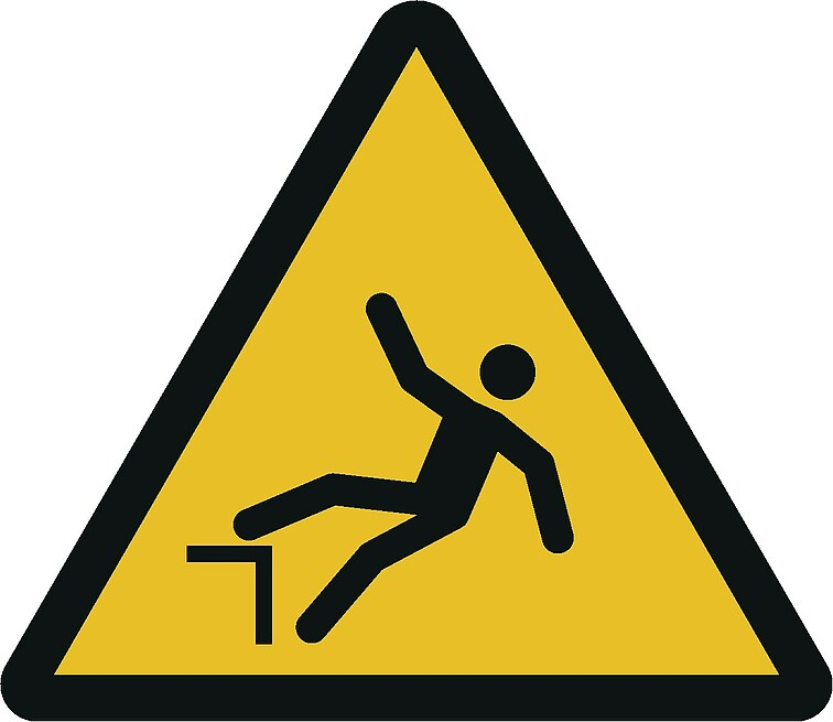 Warnzeichen W008: Warnung vor Absturzgefahr