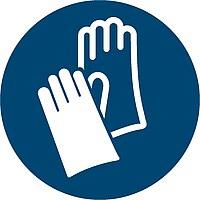 Zu sehen ist ein Gebotsschild zum Tragen von Schutzhandschuhen.