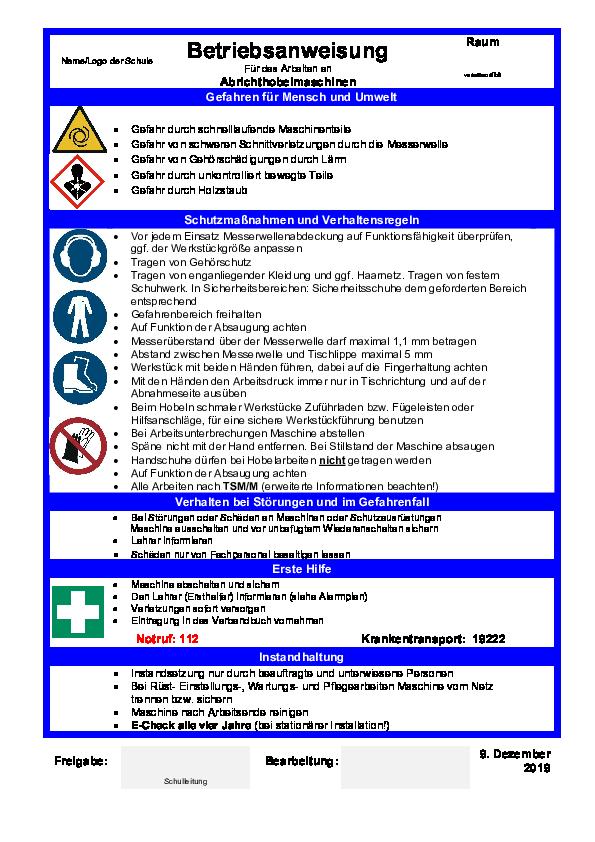 Das Bild zeigt eine Betriebsanweisung für Abrichthobelmaschinen