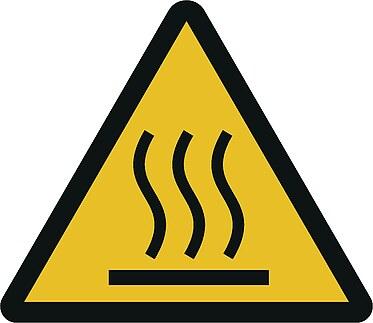 Warnzeichn W017: Warnung vor heißer Oberfläche
