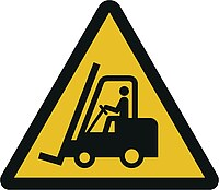 Gefahrensymbol - Warnung vor Flurförderzeugen