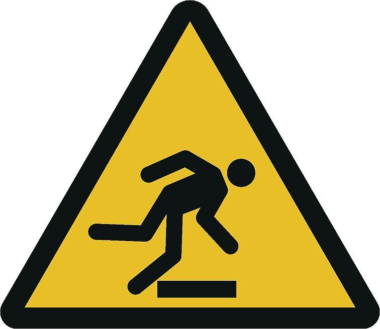 Warnzeichen W014: Warnung vor Hindernissen am Boden