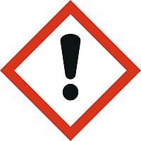 """Hier ist ein Gefahrstoffzeichen nach GHS mit dem Symbol """"Achtung Gefahr"""" dargestellt."""